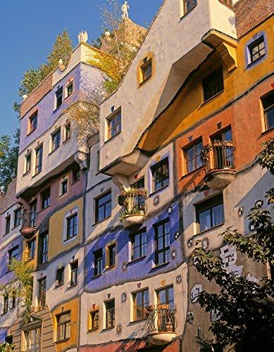 Vienna Austria Facade of Hundertwasserhaus an apartment block designed by architect and artist Friedensreich Regentag Dunkelbunt Hundertwasser Poster Print by Panoramic Images (14 x 11) from Posterazzi