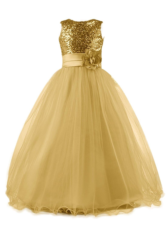 66243d014d64d Amazon.com  Mermaidtalee Long Sequin Top Tulle Flower Girl Dresses Party  Dresses  Clothing