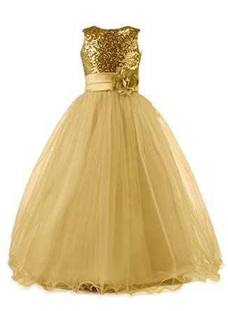 c792ad253dc Mermaidtalee Long Sequin Top Tulle Flower Girl Dresses Party Dresses Size2T  Gold
