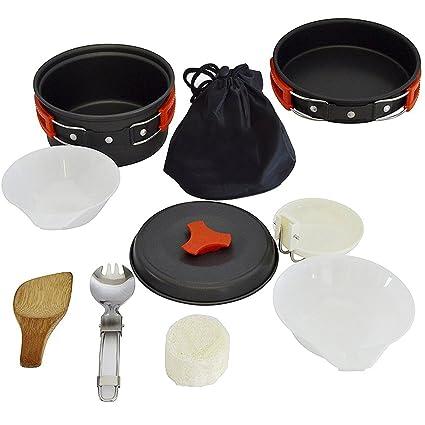 ROOKLY Camping Mess Kit Camping Cookware Macetas Y Sartenes Ligero Mochilero Equipo De Senderismo Equipo De