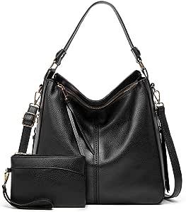L&K Lady's One-shoulder Diagonal Faux Leather Large Handbag Bucket Style Stray Bag (Son-Mother Bag) (black)