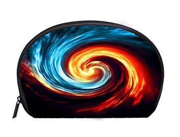 Amazon Com Half Moon Cosmetic Bag Fire And Ice Abstract