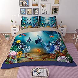 Newrara Ocean Bedding Underwater World Bedding 3d Corals and Fishes Bedding Dolphin and Mermaid Printed 3PCS Duvet Cover Set For Kids (C2, Queen)