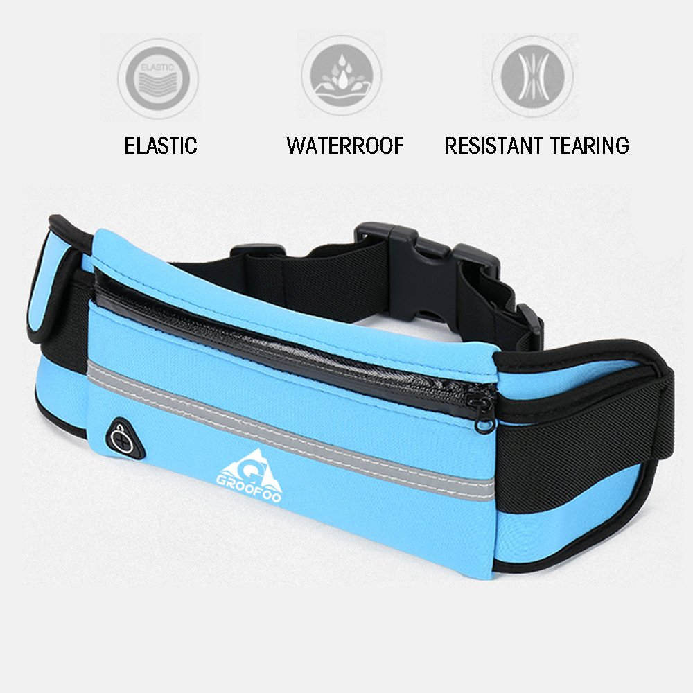 Running Belt Waist Pack - Water Resistant Runners Belt Fanny Pack for Hiking Fitness – Adjustable Running Pouch fit Hiking Running Cycling Camping Climbing Travel phone protection - Purple