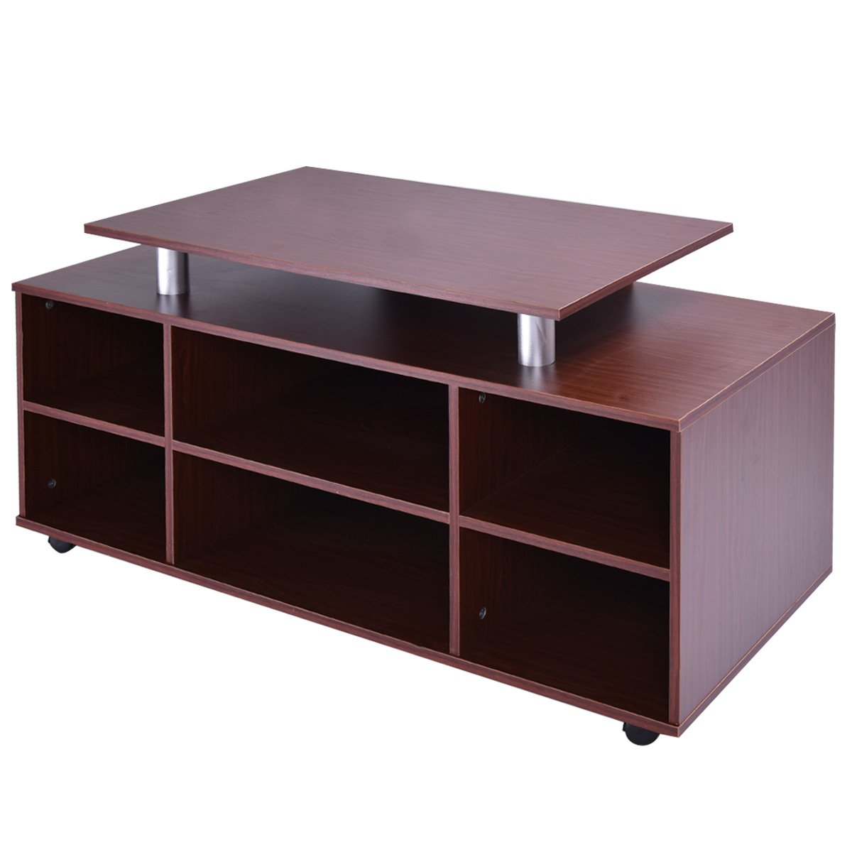 TANGKULA Wheeled TV Stand Entertainment Center Media Console Storage Cabinet Furniture