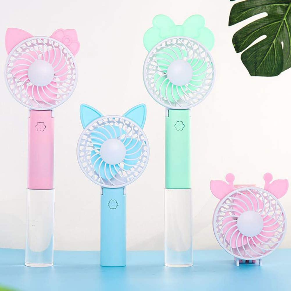 Outdoor Travel Car Blue A Summer Portable Mini Cartoon Handheld Fan USB Rechargeable Cooling Fan Hand Cooler Suitable for Office Camping