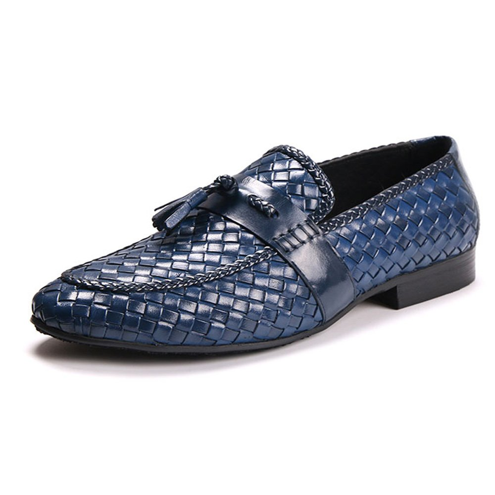 Genuine Woven Leather Men Tassel Loafers Slip on Business Dress Shoes (11, navy blue)
