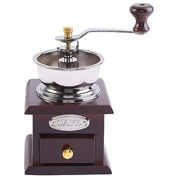 Zerodis Molinillo de café manual, molinillo de mano de madera para grano de café con cajón: Amazon.es: Hogar