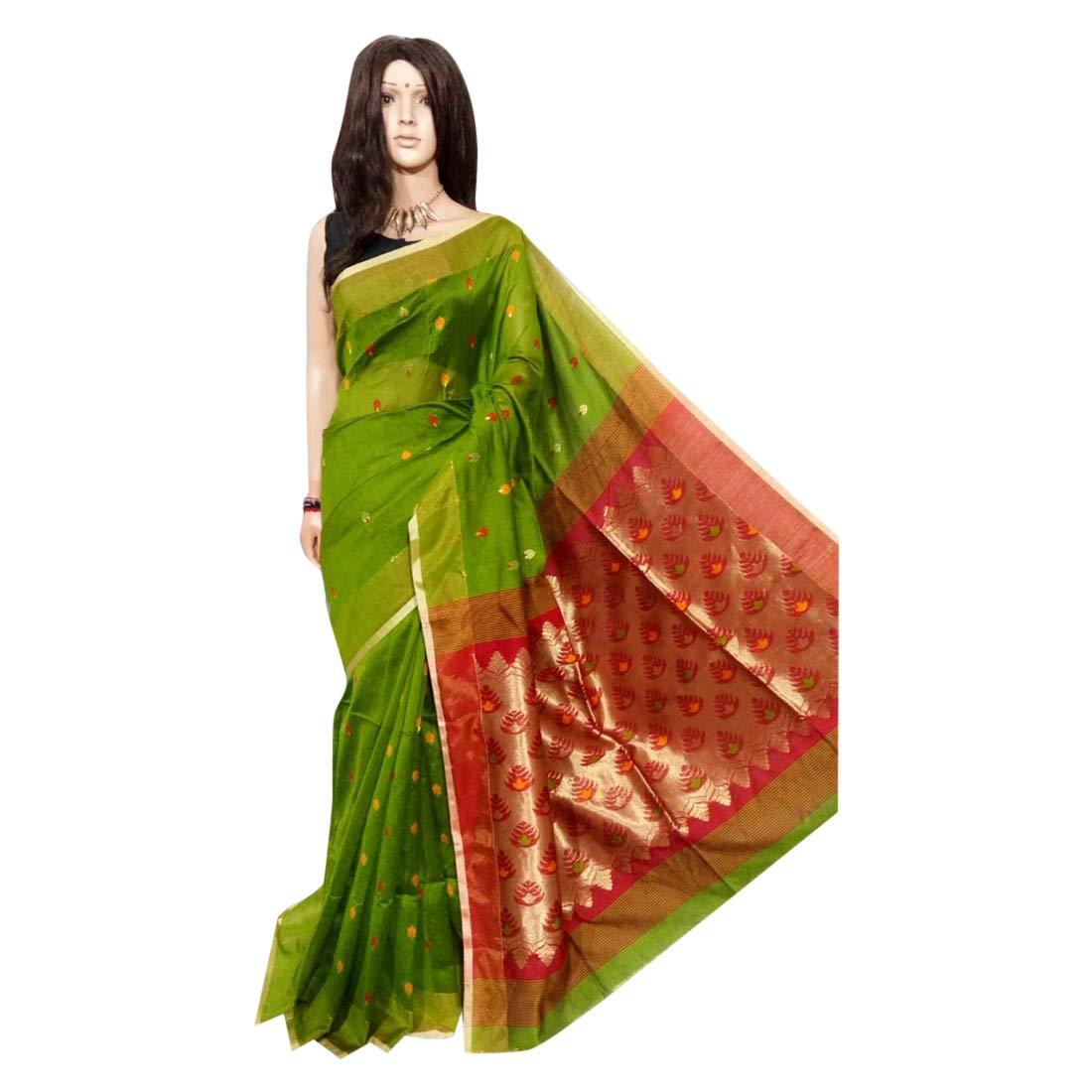 f98ab7e6a4 Amazon.com: Green Handloom Silk Soft Zari Pallu Soft Thread Saree Indian  Sari Blouse Handmade West Bengal Weavers 132a: Home Improvement