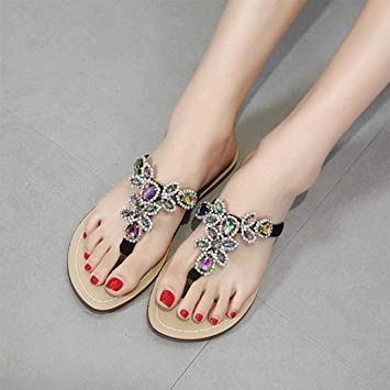 0f05869d80dfa Women Bohemia Shining Rhinestone Slipper Flip Flop Sandals Flat T-strap  Thongs Clearance Bridesmaid Party