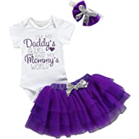 Zrom 0-24 Months Toddler Baby Girls Short Sleeve Letter Romper Skirt Headband Father's Day Set