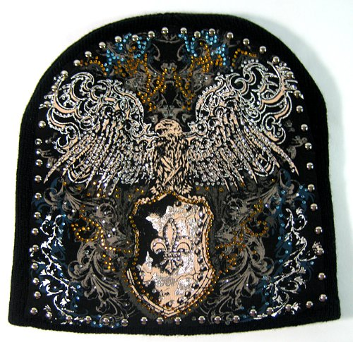 Fashion Bling Hand Made Tattoo Short Beanie Hats - Falcon & Fleur de - De Lis Fleur Syracuse