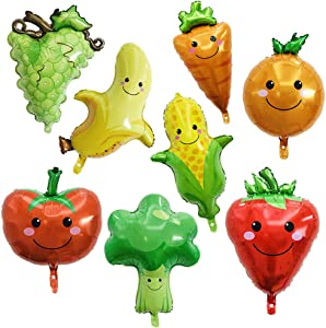 8 Pack Assorted Fruit Vegetable Shaped Foil Balloons Jumbo Apple Banana Orange Strawberry Grape Globos Corn Carrots Broccoli Mylar Balloons for Birthday Party Favours