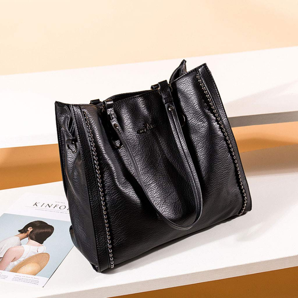 Frauen Handtasche Sleek Minimalistischen Umhängetasche Multifunktions Umhängetasche 5 5 5 Farben (33  34  9,5 cm) (Farbe   SCHWARZ) B07GV41FWQ Schultertaschen Empfohlen heute f27944