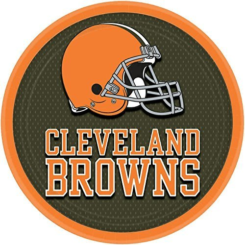 """Licensed MLB Cleveland Browns Party Round Luncheon Plates Tableware, 8 Pieces, Paper, 9"""" by Amscan"""