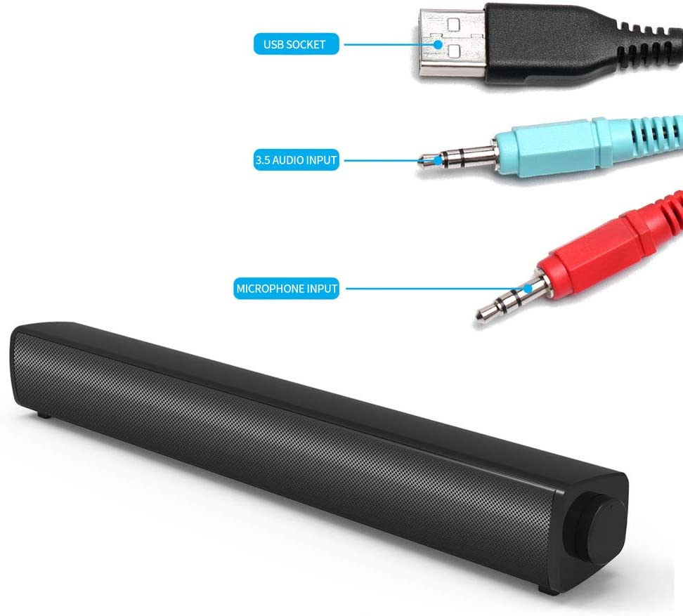 PC-Lautsprecher USB-Soundbar-Lautsprecher mit Mikrofon f/ür Desktop-PC Laptop-Tablet-Smartphones luosh Computerlautsprecher