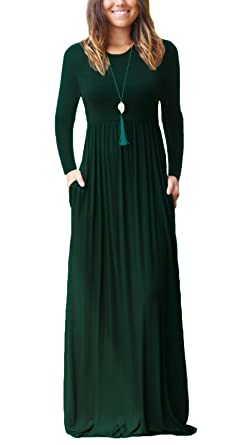 0d6b102239e9 KORSIS Women s Long Sleeve Loose Plain Maxi Dresses Casual Long Dresses  with Pockets Dark Green S