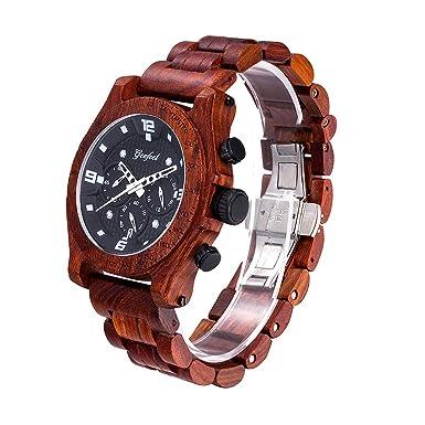 Relojes de Madera para Hombre 3 ATM, Impermeable, Movimiento Pe902, Carcasa de sándalo