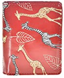 Shag Wear Women's Animal Design Small Zipper Wallet Giraffe Love Red