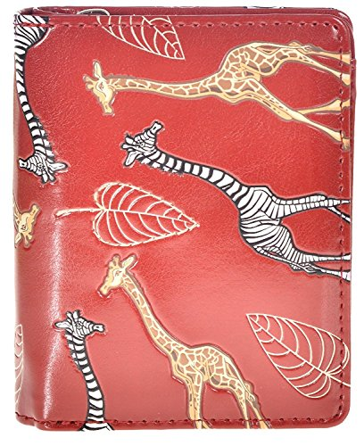 Shag Wear Women's Animal Design Small Zipper Wallet Giraffe Love Red