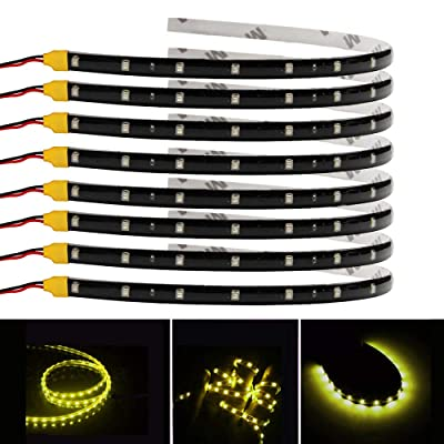ESUPPORT Yellow 12v 15 Led 30cm Car Flexible Waterproof Underbody Light Strip Decoration Pack of 8: Automotive