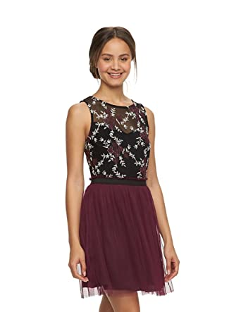 Amazon.com  Speechless Juniors Floral Illusion Skater Dress 4bcaf8e6c