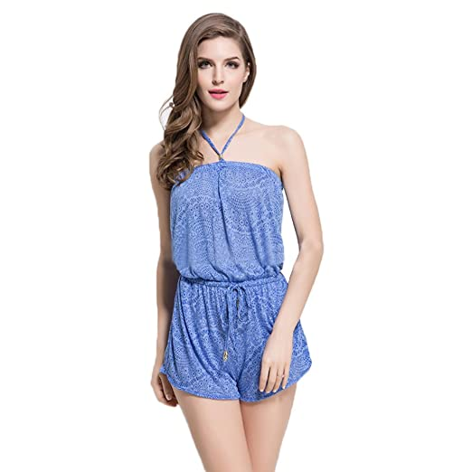 cbf11d6952a4 Image Unavailable. Image not available for. Color  DREAMY Sexy Tube Top  Comfort Rayon Romper Playsuit Casual Loose Slim Jumpsuit