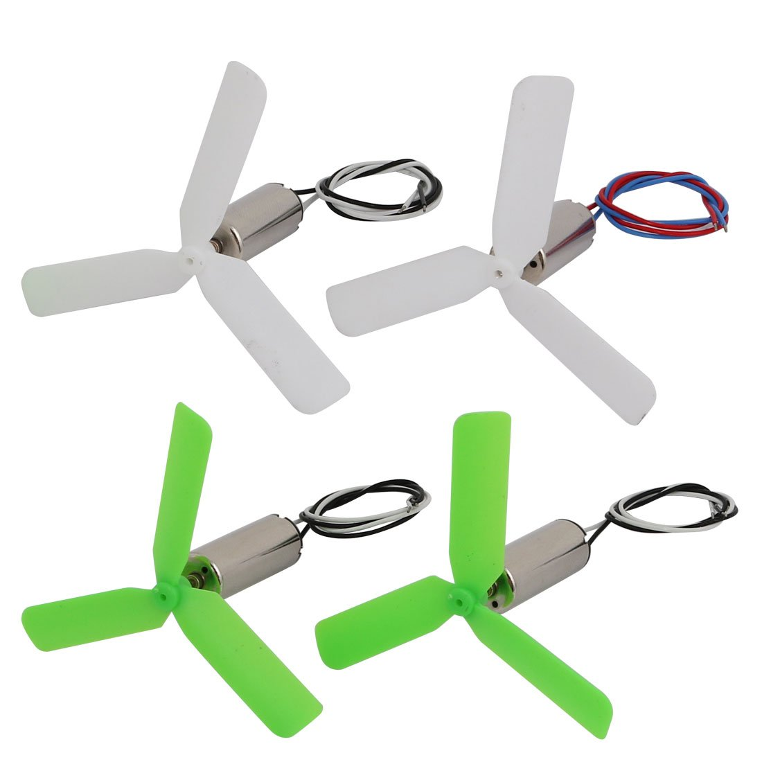 uxcell 2pair DC 3.4V 26000RPM 7mm x 20mm Motor w Green White 3-Vanes CW CCW Propeller
