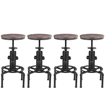 Lot De 4 Tabourets De Bar De Style Industriel En Bois Reglable En