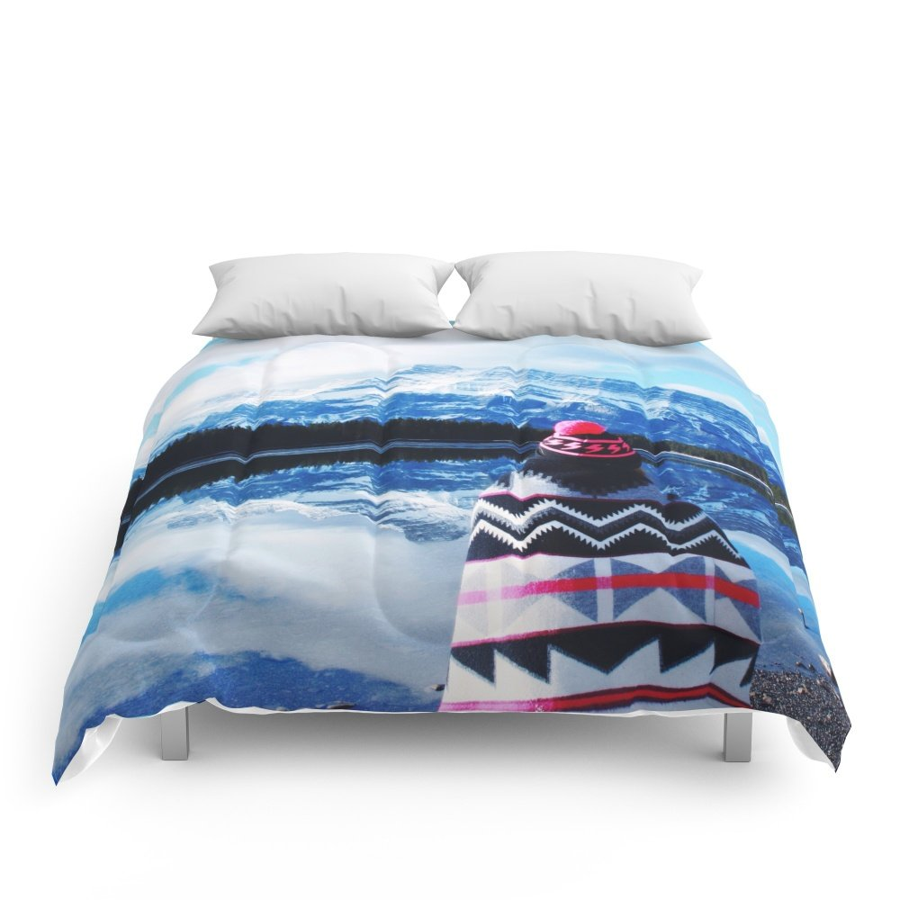 Society6 Girl At Two Jack Lake Comforters Queen: 88'' x 88''