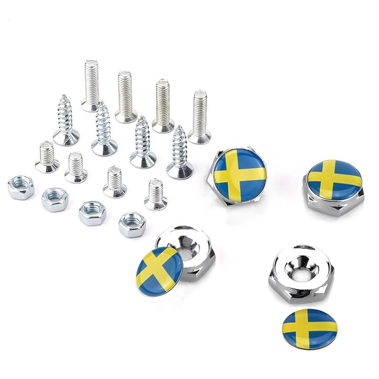4 Tornillos para Marco de Placa de veh/ículo con Emblema de Bandera Sueca para SAAB Volvo S60 S80 S90 V40 XuXuauto