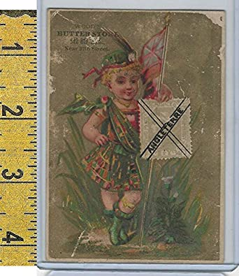 Victorian Card 1890s Woods Butter Store New York Flag Girl Stamp