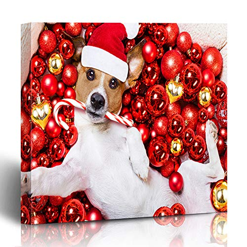 Ahawoso Canvas Print Wall Art 12x12 Inch Jack Russell Terrier Dog Santa Claus Hat Christmas Holidays Resting On Xmas Balls Taking Selfie Modern Artwork Printing Home Decor Wrapp Gallery Painting