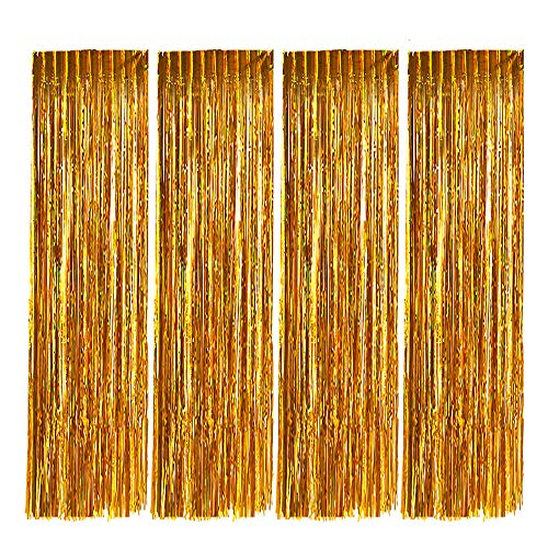 Zealor Foil Fringe Curtains, 4 Pack Metallic Tinsel Curtains 3.28ft 8.2ft Backdrop for Parties and Celebrations(Gold)]()