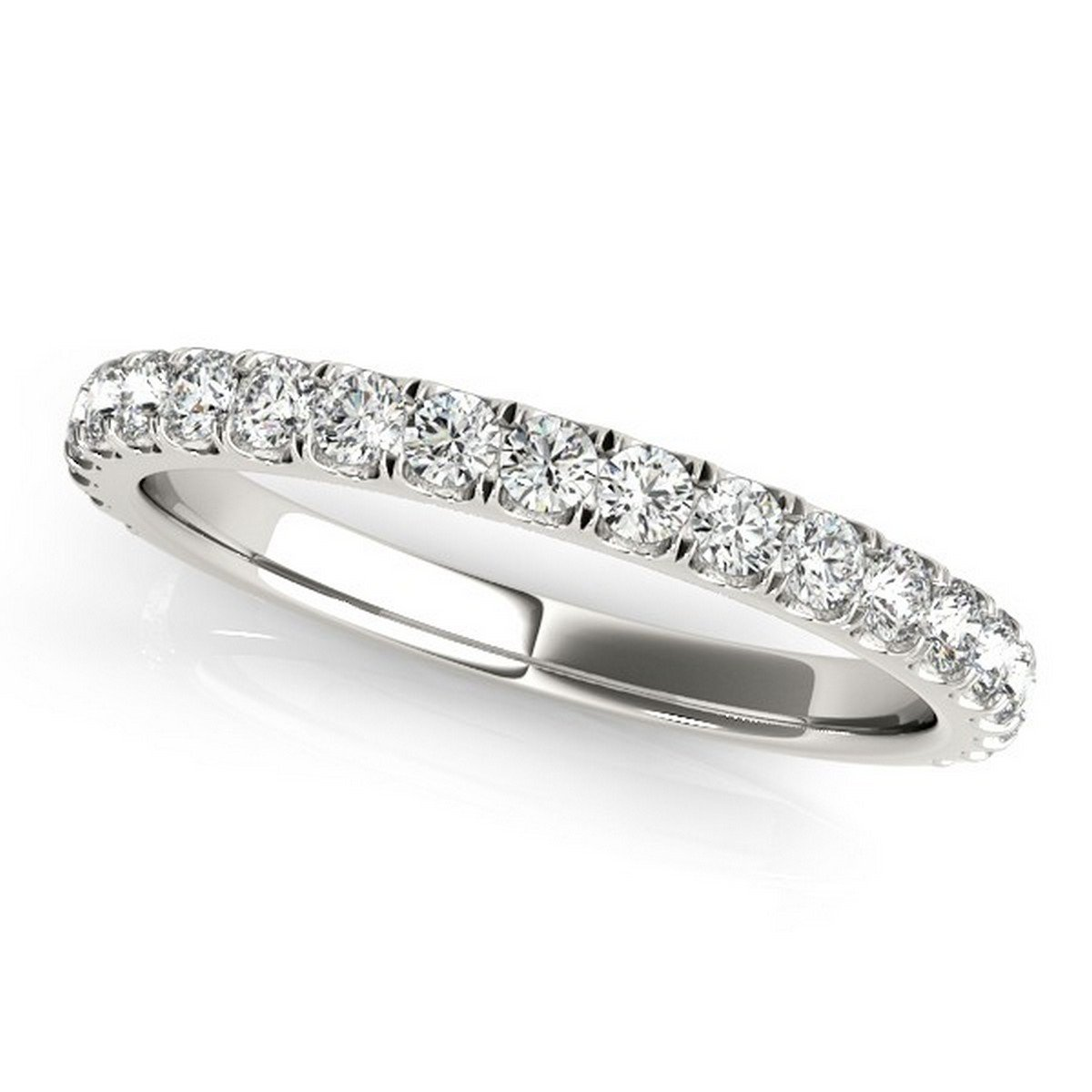 Elegant French Pave Set Diamond Wedding Ring Semi Eternity Style in Platinum with 0.45 carats