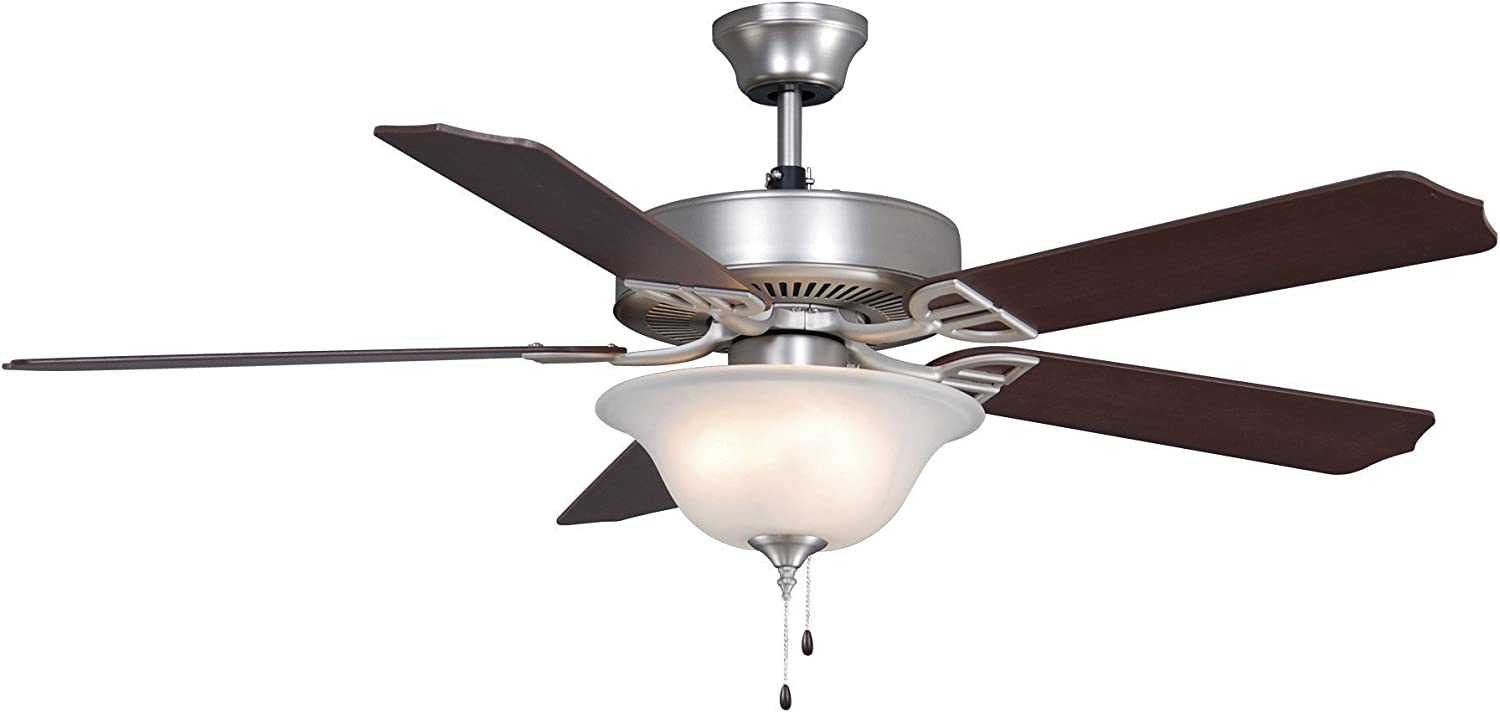 Fanimation Aire Décor - 52 inch - Satin Nickel with Glass Bowl Light Kit - 220v with Pull-Chain - BP220SN1-220