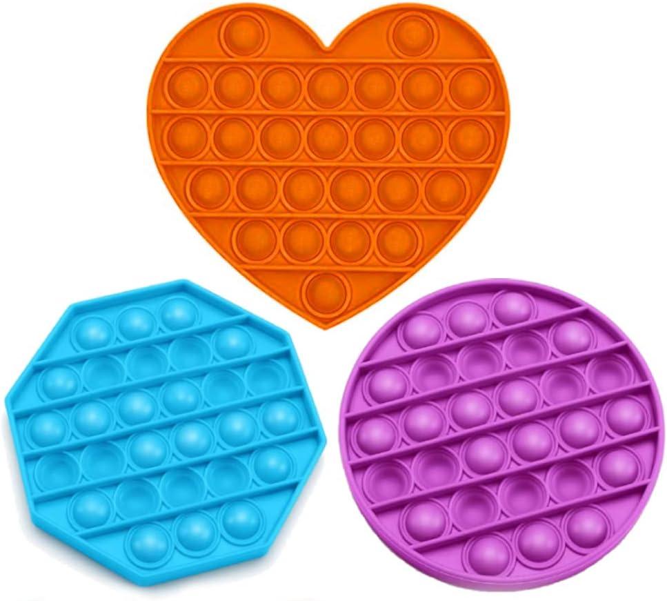 Push Pop Bubble Fidget Sensory Toy 3pcs Push Pop Bubble Stress Reliever Good for Kids Push Pop Fidget Toy Stress Reliever Toy Autism Special Needs