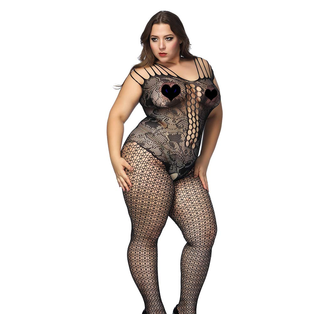 1f0be07cd41 Deksias Fishnet Bodystocking Plus Size Crotchless Bodysuit Lingerie ...