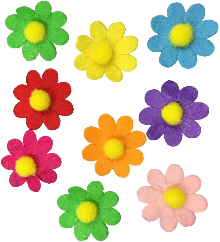 BESTCYC 100pcs 2.8cm Assorted Colors Felt Flowers Fabric Flower Embellishments for DIY Crafts Art Handcraft