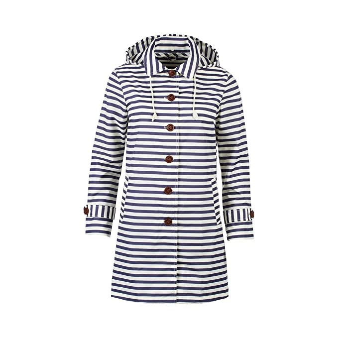 Regen-Trenchcoat /Übergangsjacke Damen Mode Damen Mantel lang Fr/ühling Sommer Herbst abnehmbare Kapuze Reverskragen Maritim-Optik Parka lang