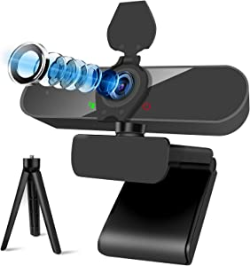 2K Streaming Webcam with Microphone, 2560P 4MP USB Computer Webcam with Privacy Shutter and Tripod Stand, Plug and Play, Desktop Laptop Computer Web PC Mac Video Calling Conferencing Recording