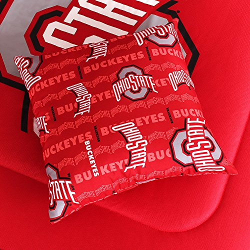 """NCAA Ohio State Buckeyes All Over Toss Pillow, 17"""" x 17"""", Bright Red"""