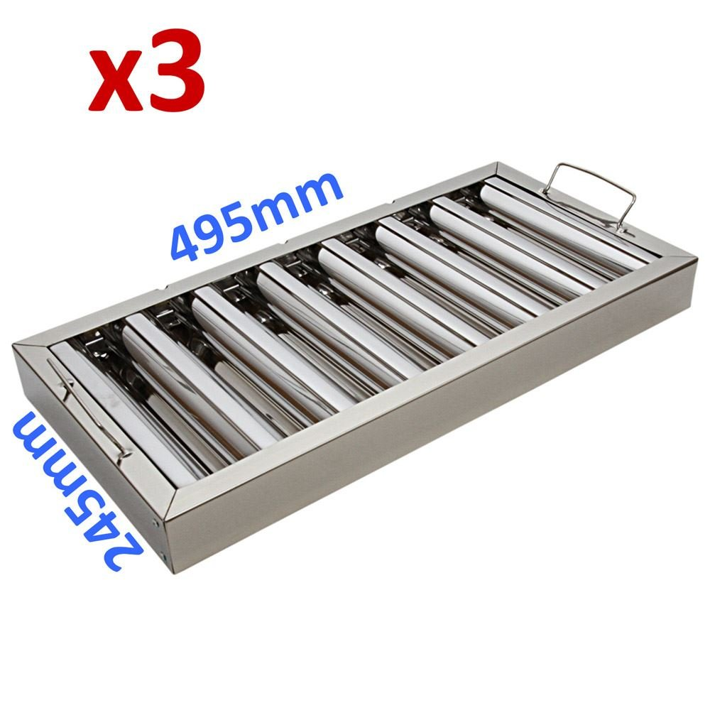 3X Canopy Grease Baffle Filter Stainless Steel Kitchen Extraction Hood 495x245mm eZone