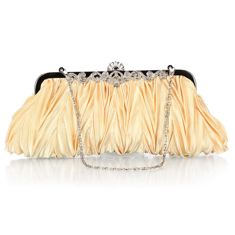 Moonflower Womens Vintage Satin Pleated Envelope Evening Cocktail Wedding Party Handbag Clutch Gold