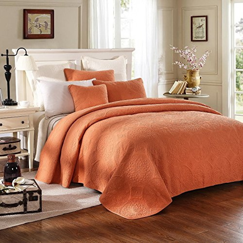 Tache 2 Piece 100% Cotton Fall Harvest Solid Quilt Set, Twin - Sienna Duvet Cover