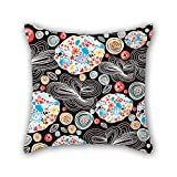 NICEPLW flower pillowcover 20 x 20 inches / 50 by 50 cm best choice for dining room,dinning room,husband,saloon,bf,pub with double sides