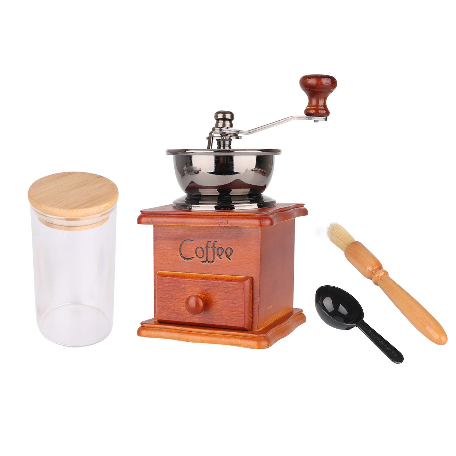 Vintage Wooden Manual Coffee Grinder with Ceramic Burr,HT Hand Crank Coffee Mill with Glass Jars ,Brush,Spoon