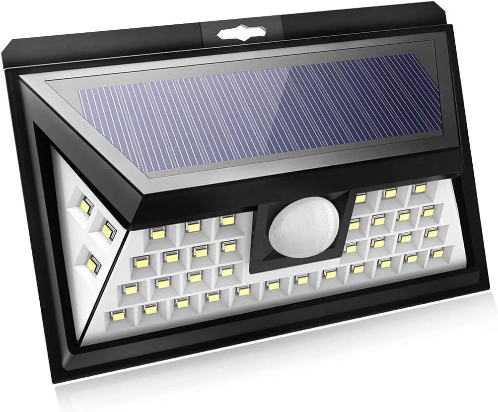 40LEDs Luz solar sensor,Luces de protección de carga solar con ángulo de haz amplio de 120 grados,Tres modos de sensor,IP65 Impermeable para jardín,Patio,Garaje(Pack of 1)