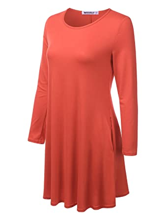 f8469f89d36e3 Doublju Womens Long Sleeve Loose Fit Tunic Dress with Pockets and Plus Size  Coral Small