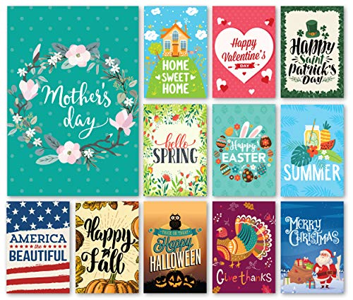 (Happy Yard Seasonal Garden Flag Set for Outdoors | Set of 12 Artistically Designed Flags | 12-inch x 18-inch | Holiday Themed, Durable &)